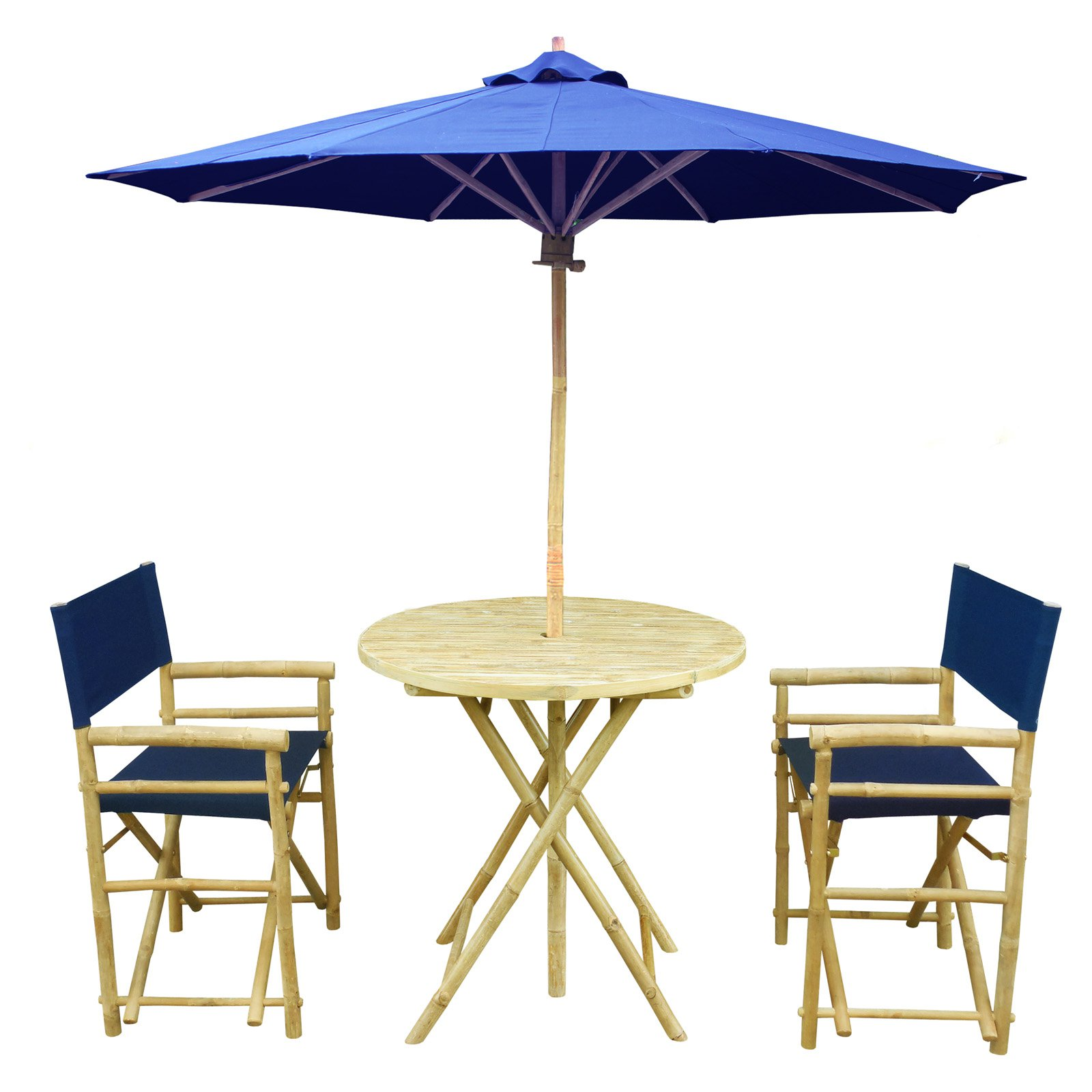 Zew Hand Crafted 4 Piece Round Bamboo Patio Bistro Set