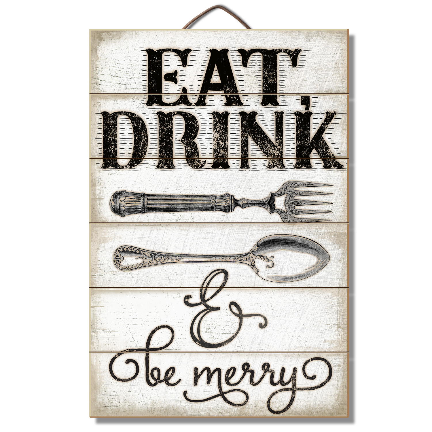 "18"" Vintage Fork and Spoon Art Wall Decor Sign 'Eat, Drink and Be Merry'"
