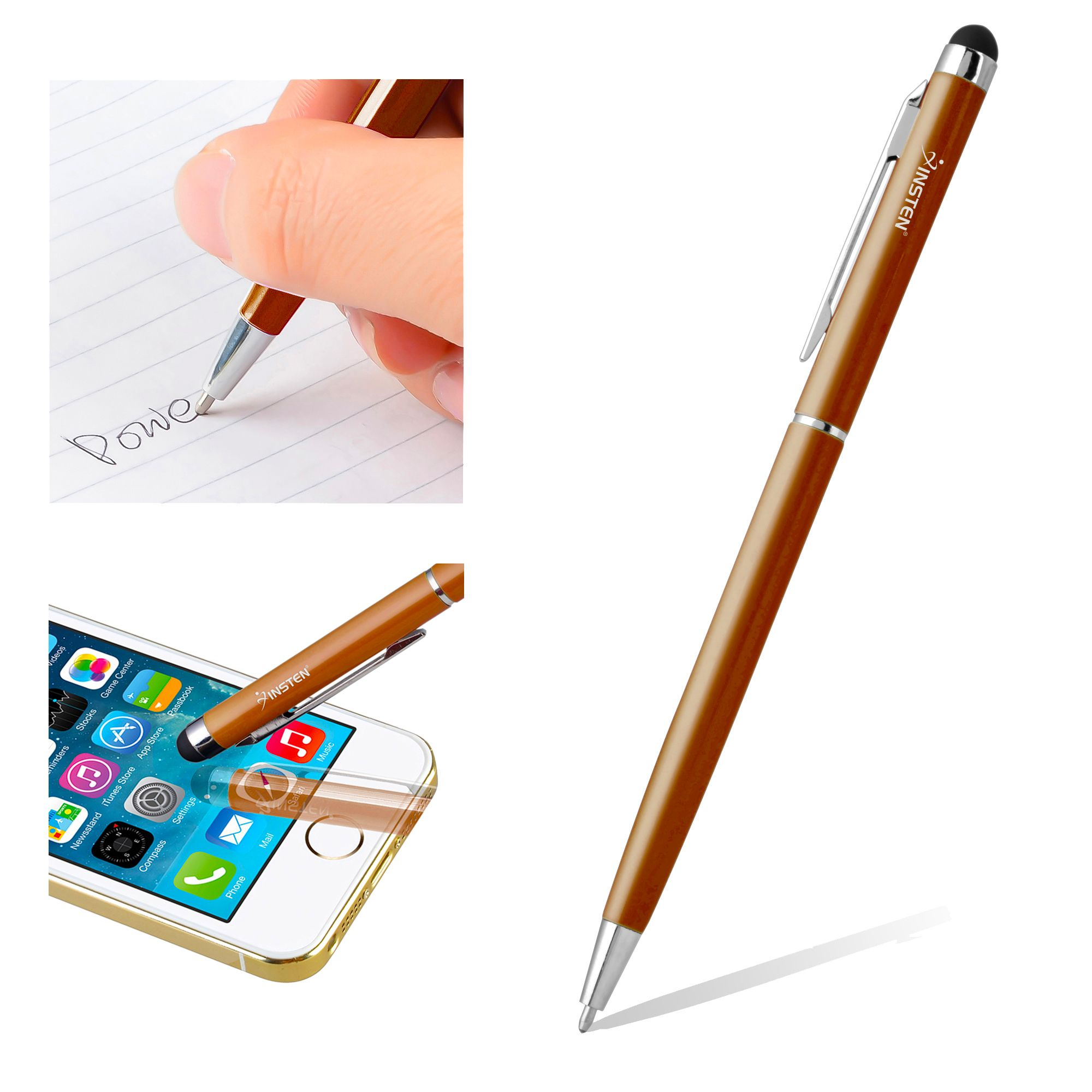 Insten Orange 2in1 Capacitive Touch Screen Stylus with Ball Point Pen for iPhone 7 8 XS XS Max XR X Samsung Galaxy Tab 3 4 Pro S9 S9+ Plus S8 S8+ Note 8 5 J7 RCA iView Ematic Huawei Media Pad LG G Pad