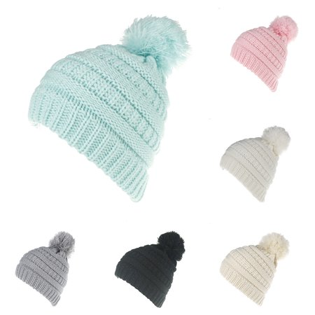 - Fashion Winter Warm Baby Boys Girls Knitted Hat Solid Color Crochet Beanie Cap