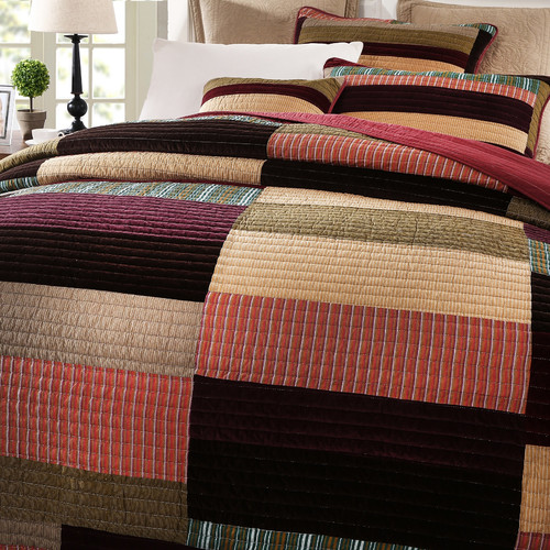 DaDa Bedding Classical Reversible Real Patchwork Striped Quilt Set