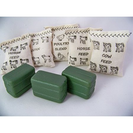 Animals Grain Feed Bags-4 Handmade Bags Plus 3 Ertl Hay Bales Pretend Play for Farm Accessories Fun Toy
