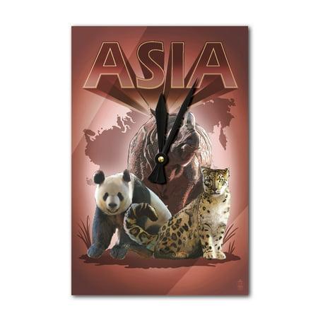 Asian Animals - Indian Rhino, Snow Leopard & Panda - Lantern Press Artwork (Acrylic Wall - Asian Lanterns