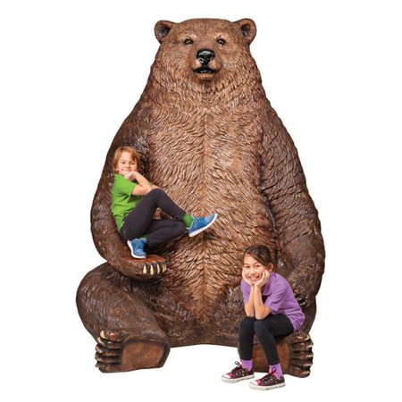 Seated Kuan Yin Statue - Design Toscano Sitting Pretty Oversized Brown Bear with Paw Seat Statue