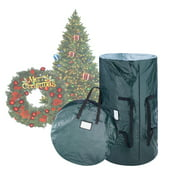 Christmas Tree and Wreath Combo Storage Bag-Holds Up to 9 Ft. Tree and 30? Diameter Wreath- Tear-Proof Holiday DEcor Organization by Elf Stor (Green)