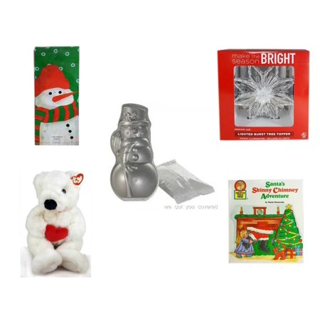 Cake Pop Bags And Ties (Christmas Fun Gift Bundle [5 Piece] - Assorted  Cello Bags With Ties - Deck The Halls Lighted Burst Silver Tree Topper - Nordic Ware Snowman Cake Pan - Ty)
