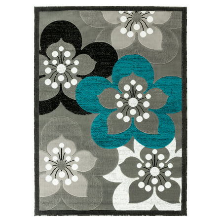 Newport Collection - Gray, Teal, White Floral Modern Area Rug