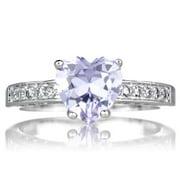 Emitations Brass based Lavender Heart Cubic Zirconia Ring