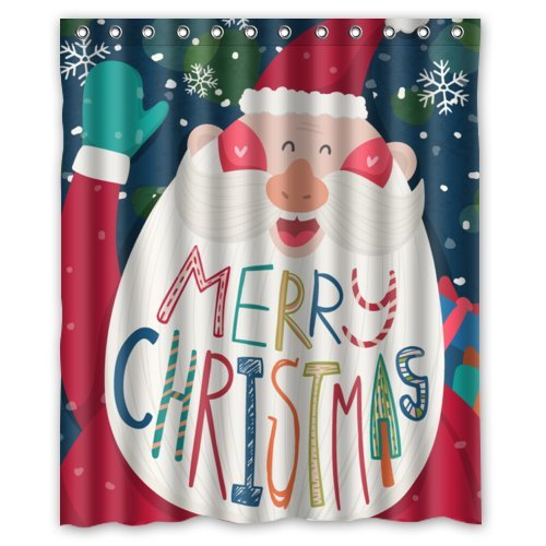 GreenDecor Style Merry Christmas Santa Claus Waterproof Shower Curtain Set with Hooks Bathroom Accessories Size 60x72 inches