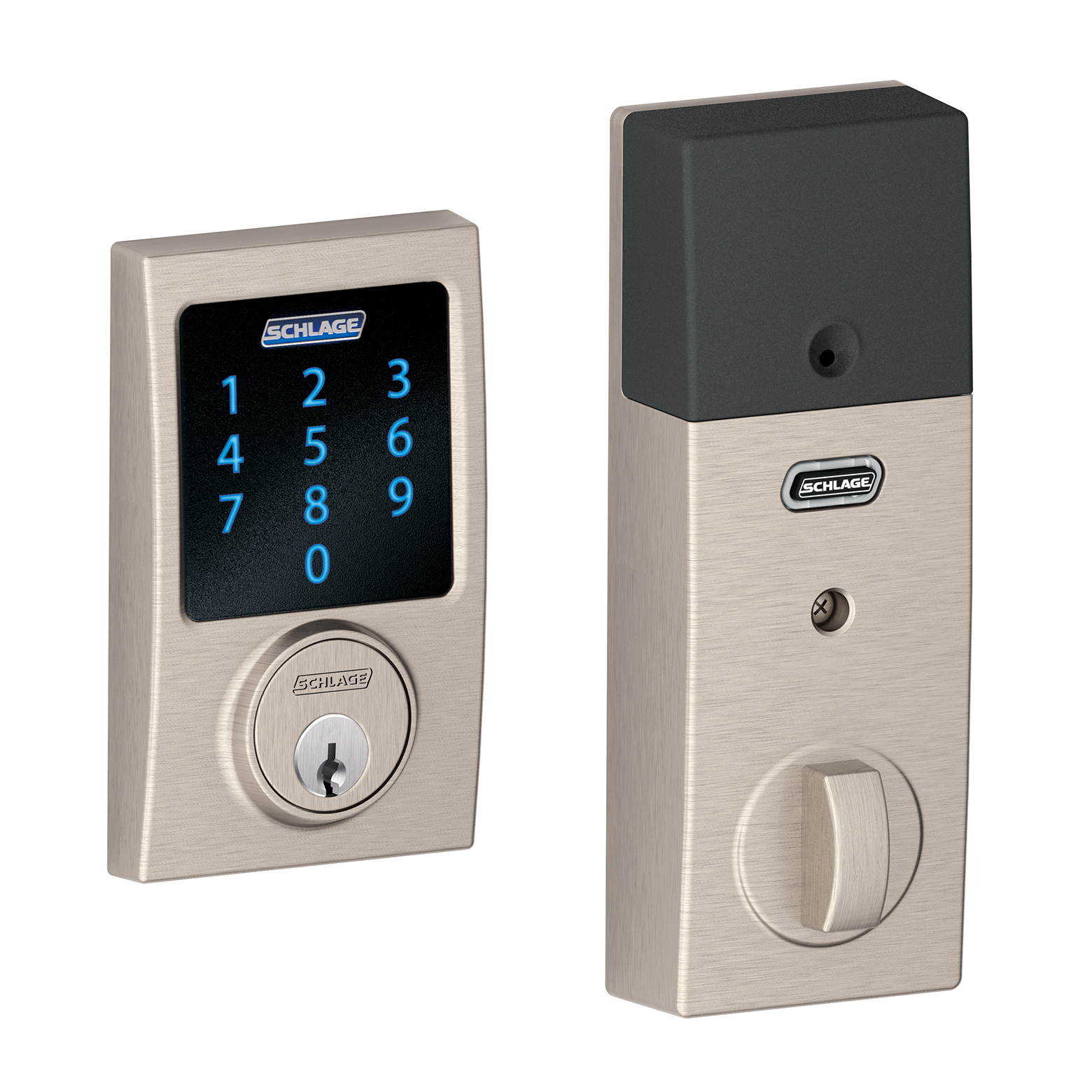Schlage BE469VCEN619 Satin Nickel Connect Century Touchscreen Deadbolt With Built In Alarm
