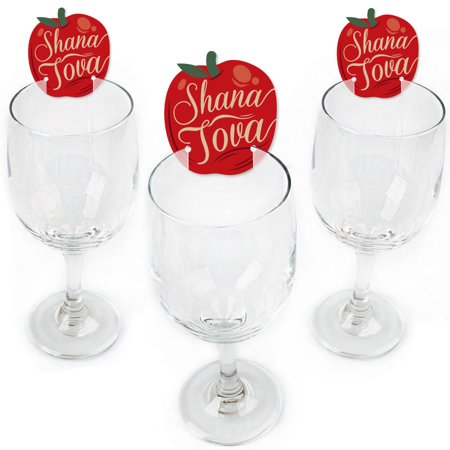 Jewish Glass (Rosh Hashanah - Shaped Jewish New Year Wine Glass Markers - Set of 24)
