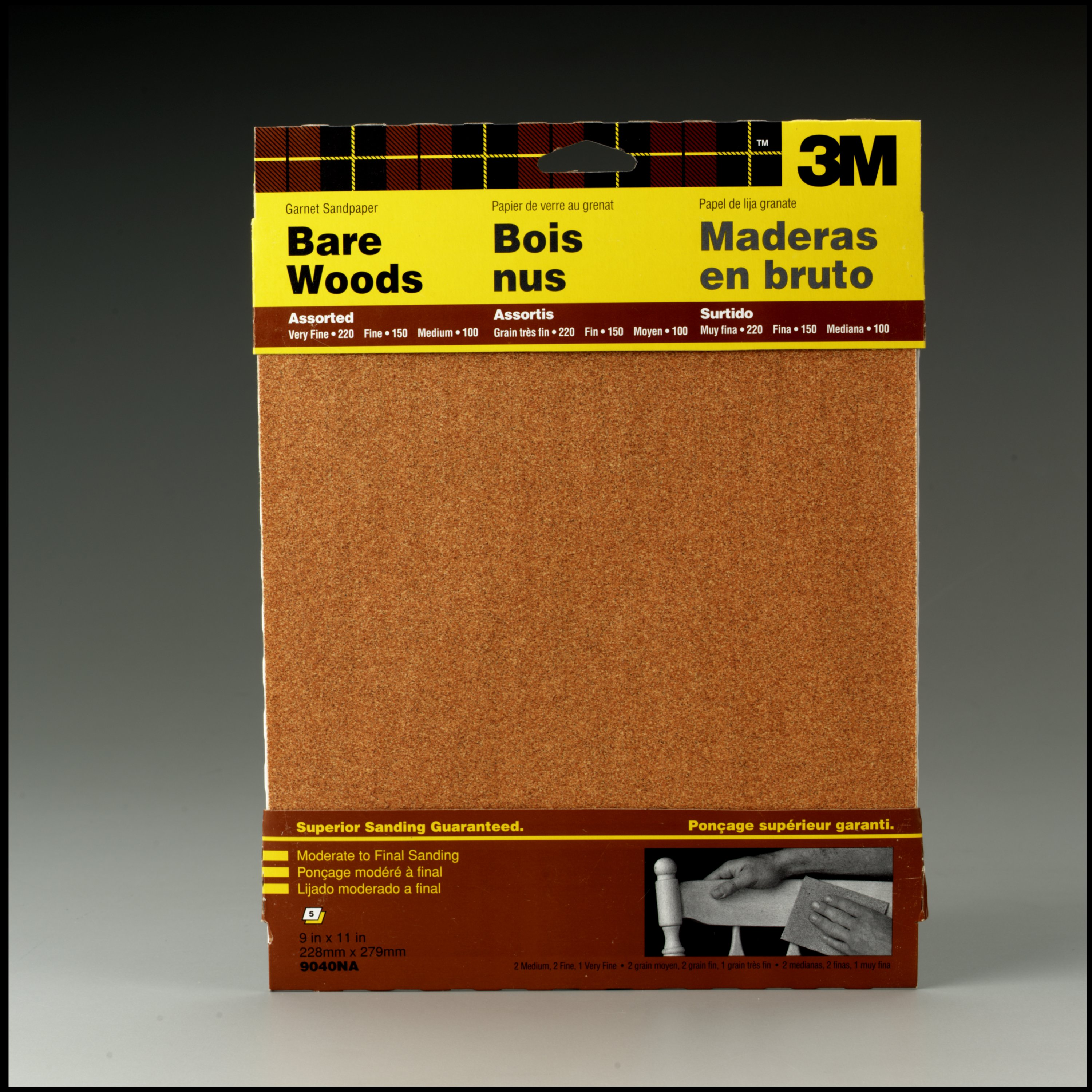 3M Garnet Sandpaper, 9 in. x 11 in., Assorted Grits, 5 Pack by 3M COMPANY
