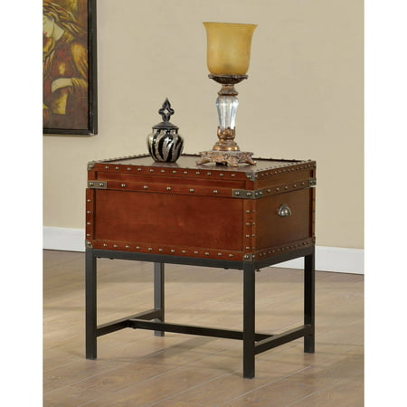 Furniture of America Millard Trunk-Style End Table, Cherry Cherry Finish Wood End Table