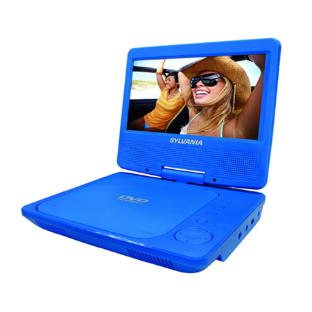 Sylvania SDVD7052 BLUE Q 7 Inch Portable DVD Player With Swivel Screen Blue