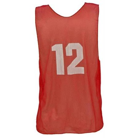 Champion Sports Numbered Scrimmage Vests for Adults, Red - Set of 12 Baseball Mesh Vest
