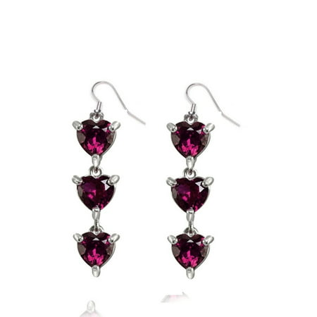 Genuine Luxurious 2.20 Ct Garnet Gemstone Three Hearts Earrings In  925 Sterling -