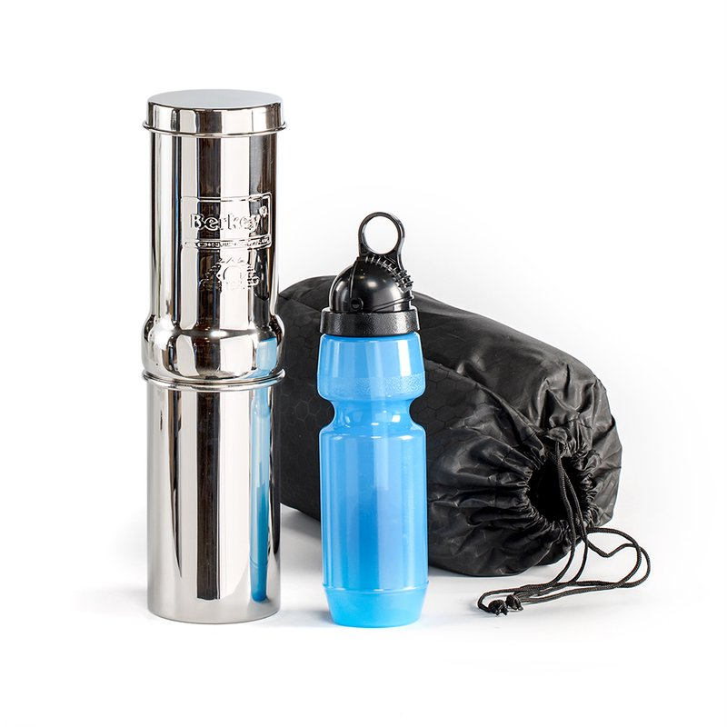 Go Berkey Kit -Includes Stainless Steel Portable Water Filter System with Sport Berkey Water Bottle (Filter included) and a Vinyl Black Carrying Case