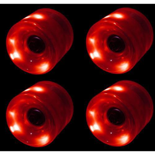LED Skateboard Wheels 65MM RED Glow Cruiser Longboard LIGHTS + ABEC 9 BEARINGS