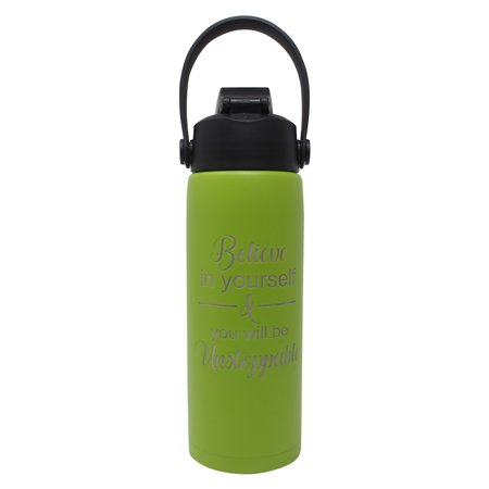 Believe in yourself & you will be Unstoppable - Aquatix Motivational 21oz Sports Bottle (Lime Green), Pure Stainless Steel Double Walled Insulation - Keeps Drinks Cold 24 hr/Hot 6 (Bottle Green Drink)