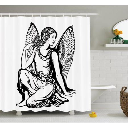 Zodiac Virgo Shower Curtain, Young Woman Artistic Figure with Angel Wings Monochrome Tattoo Art Design, Fabric Bathroom Set with Hooks, 69W X 70L Inches, Black and White, by Ambesonne