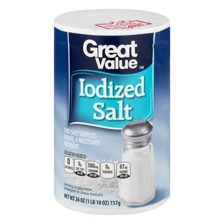 (4 Pack) Great Value Iodized Salt, 26 (Min Salt)