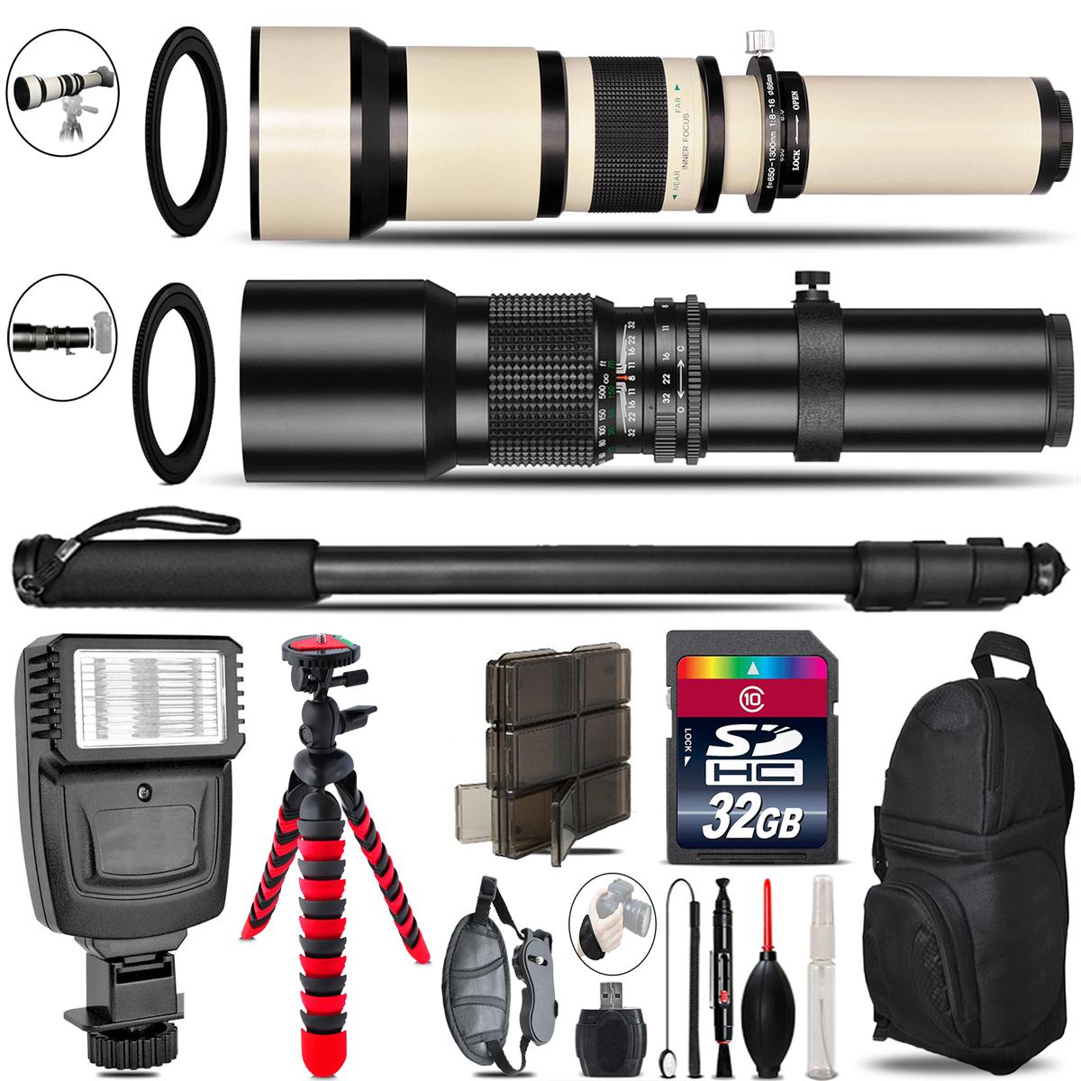 500mm-1300mm Telephoto Lens for Rebel T5 T5i + Flash + Tripod & More - 32GB Kit