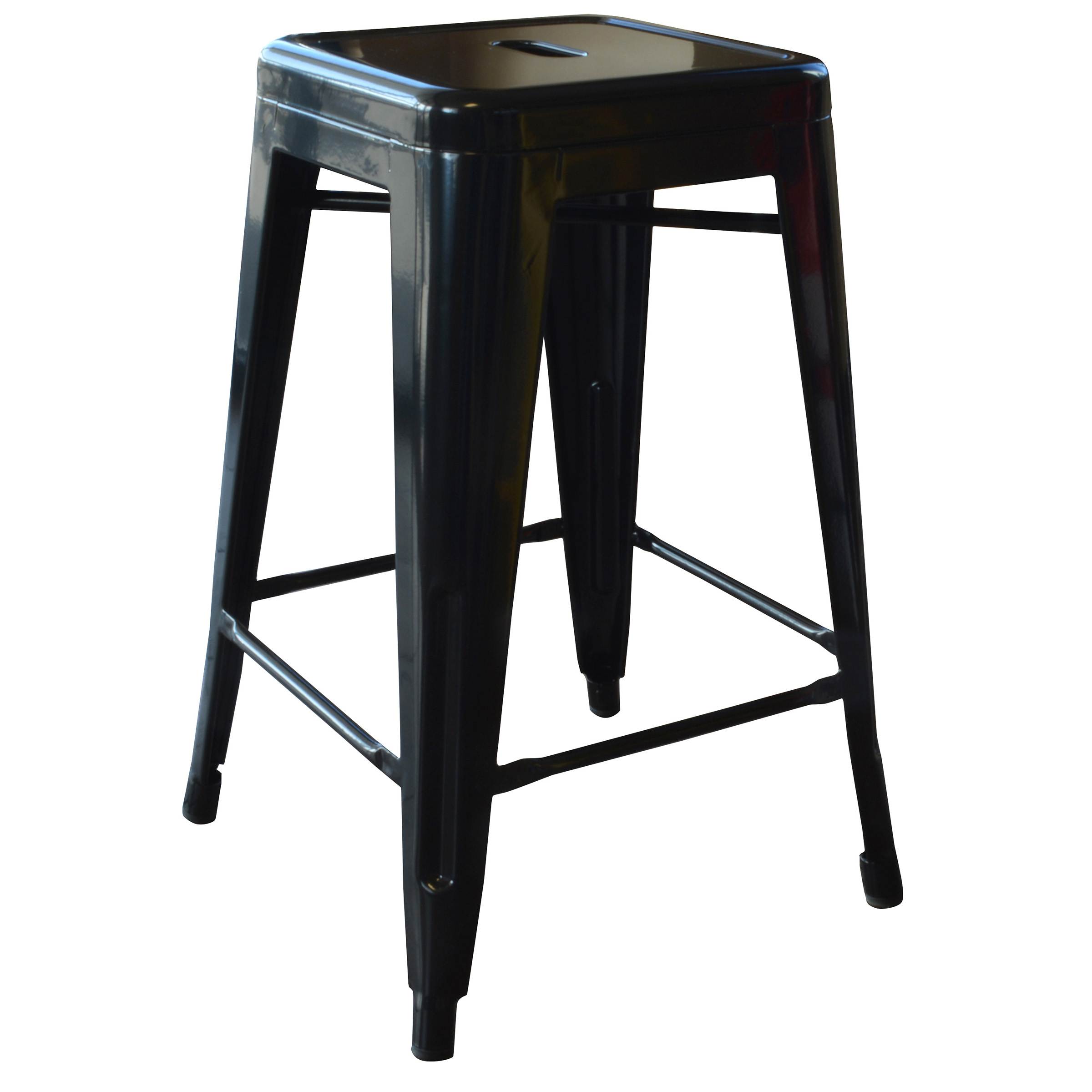 Amerihome Loft Black 24 Inch Metal Bar Stool 4 Piece