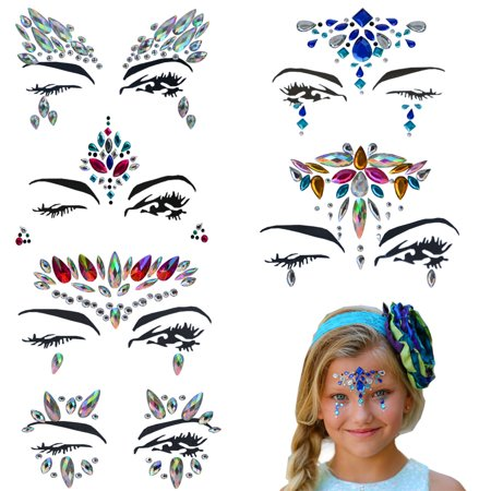 Mermaid Face Gems – Bindi Temporary Stickers Festival Face Jewels – Perfect Rhinestone Face Jewelry for A Dress-Up or Costume Party -By Amazing Tot (Set of 6) (Mermaid Jewels)