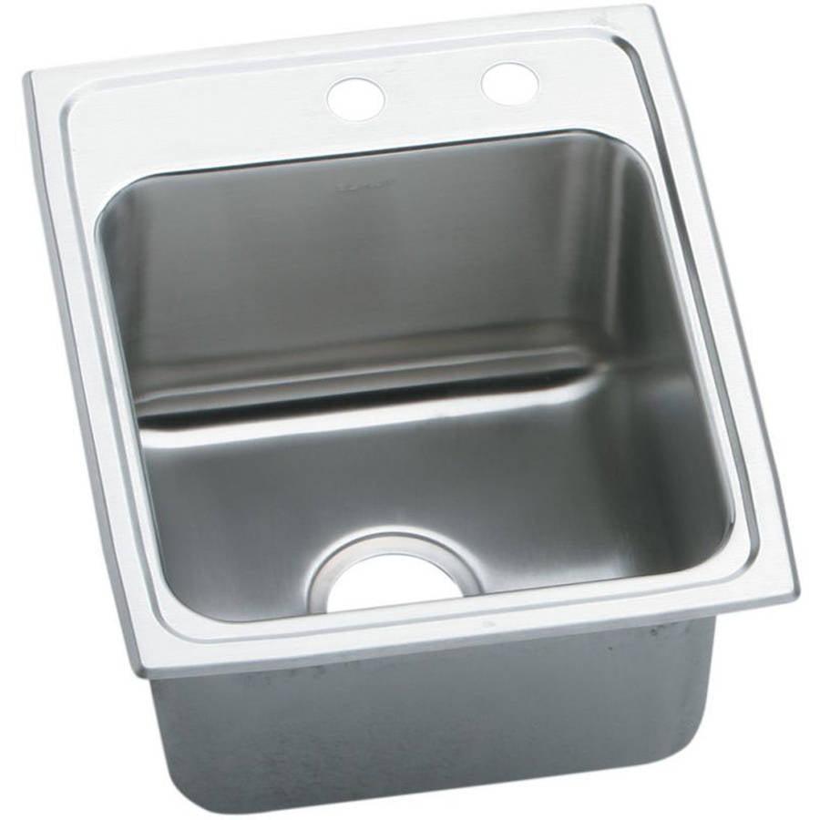 Elkay DLR172010MR2 Gourmet Lustertone Stainless Steel Single Bowl Top Mount Sink with MR2 Faucet Holes