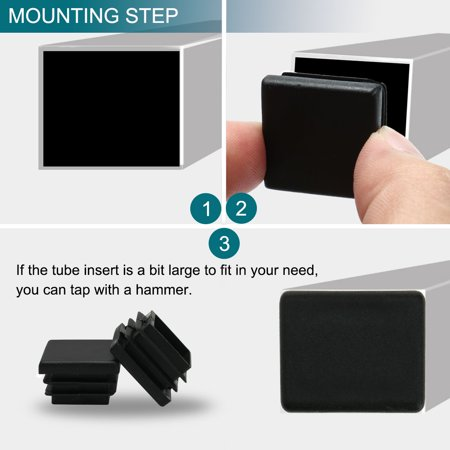 "Square Tube Insert Furniture Table Desk Protector for 0.87"" to 0.94"" Inner Size - image 1 de 7"