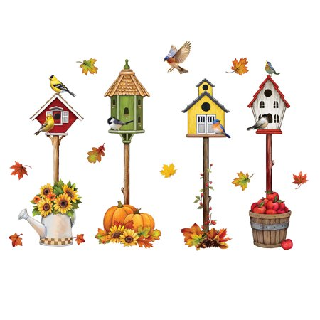 Fall Accents Garage Door Magnet with Birdhouses, Outdoor - Birdhouse Magnet