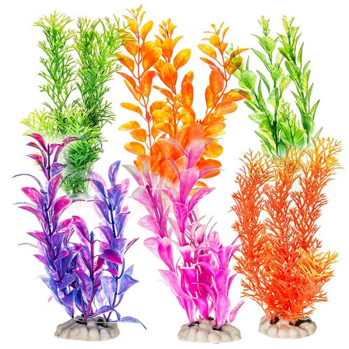 "Aquatop Plastic Aquarium Plants Power Pack - Assorted Colors 12 Pack - 2 Each - (7"" High Plants)"