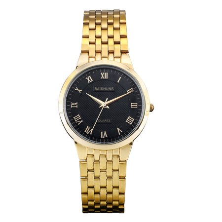 ESS Black Dial Quartz Mens Watch Golden Stainless Steel Band Roman Numerals