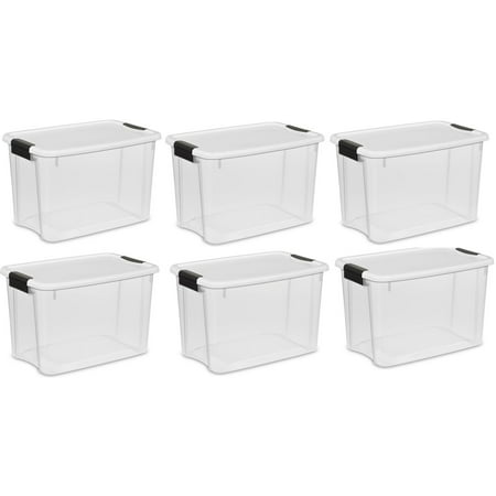 Sterilite 30-Quart Ultra Latch Storage Box w/White Lid and Clear Base (6 (Base Clear Lid)