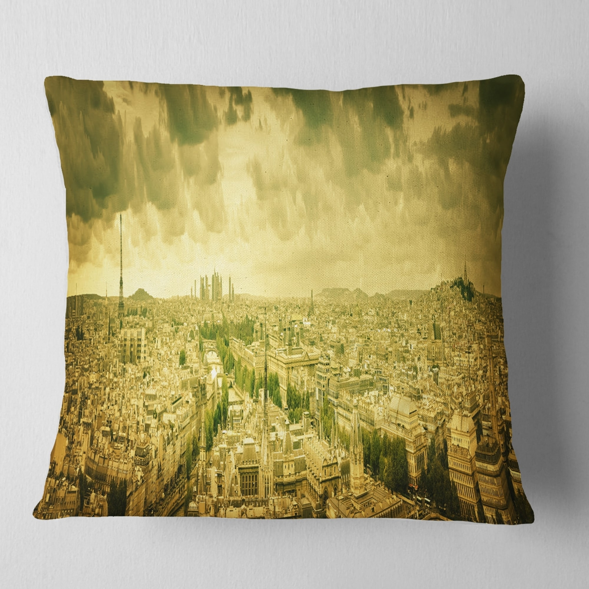 Design Art Designart Paris Panorama With Scenic Sky Skyline Photography Throw Pillow Walmart Com