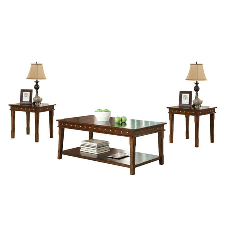 ACME Mitra 3-Piece Pack Coffee/End Table Set, Walnut