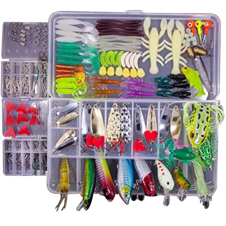 Fishing Lures Kits Popper Baits Hard Soft Bait Lure Fishhooks Surcasting With Tackle Box for Saltwater & Freshwater Fishing