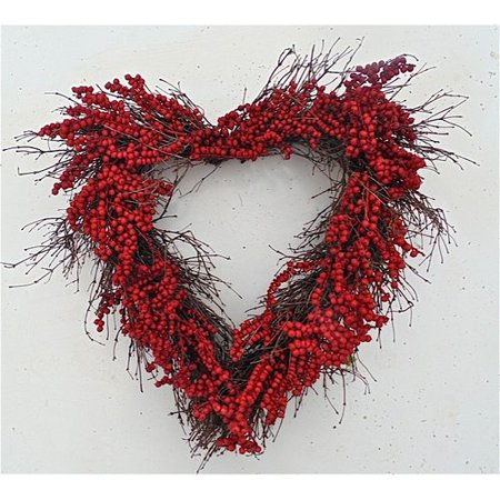 Dried Flowers and Wreaths LLC 22'' Red Berry - Valentines Wreaths