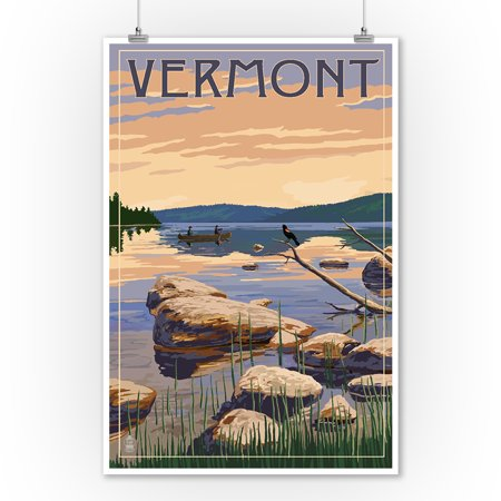 Vermont - Lake Sunrise Scene - Lantern Press Artwork (9x12 Art Print, Wall Decor Travel Poster) ()