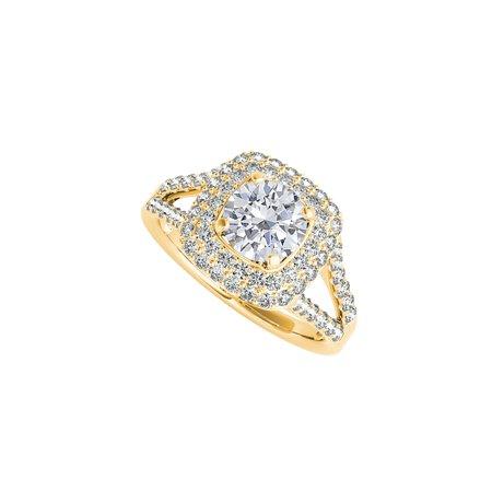CZ Split Shank Halo Engagement Ring in 14K Yellow Gold - image 2 de 2