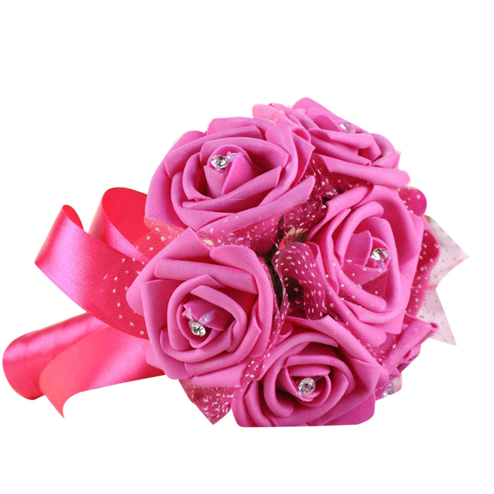 Mosunx Crystal Roses Pearl Bridesmaid Wedding Bouquet Bridal Artificial Silk Flower