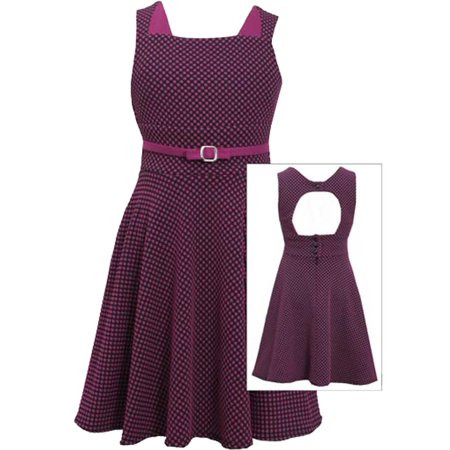 Big Girls Tween 7-16 Magenta/Black Dotted Jacquard Knit Cuout Back Skater Dress, 12 - Tween Designer Dresses