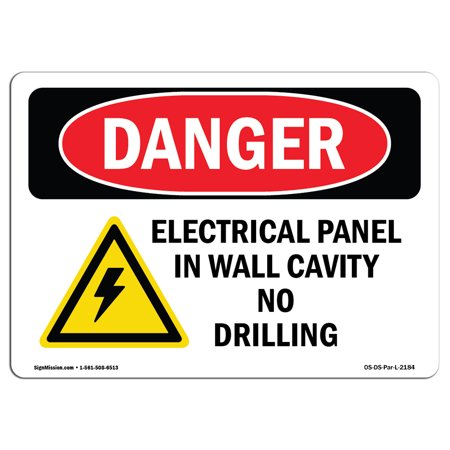 OSHA Danger Sign - Electrical Panel In Wall Cavity | Choose from: Aluminum, Rigid Plastic Or Vinyl Label Decal | Protect Your Business, Construction Site, Warehouse & Shop Area | Made in The (Aluminum Wall Panels)