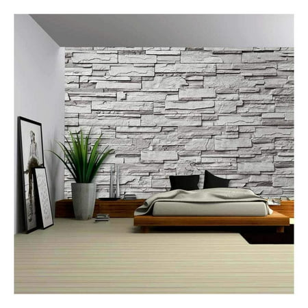 wall26 - The Gray Modern Stone Wall - Removable Wall Mural | Self-Adhesive Large Wallpaper - 100x144