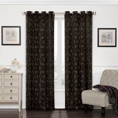 Aubergine Finish - Eclipse 12427052084AUB Patricia 52-Inch by 84-Inch Blackout Grommet Single Curtain Panel, Aubergine, Sold as single panel By Eclipse Curtains from USA