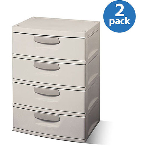 Sterilite 4-Drawer Cabinet, 2-Pack