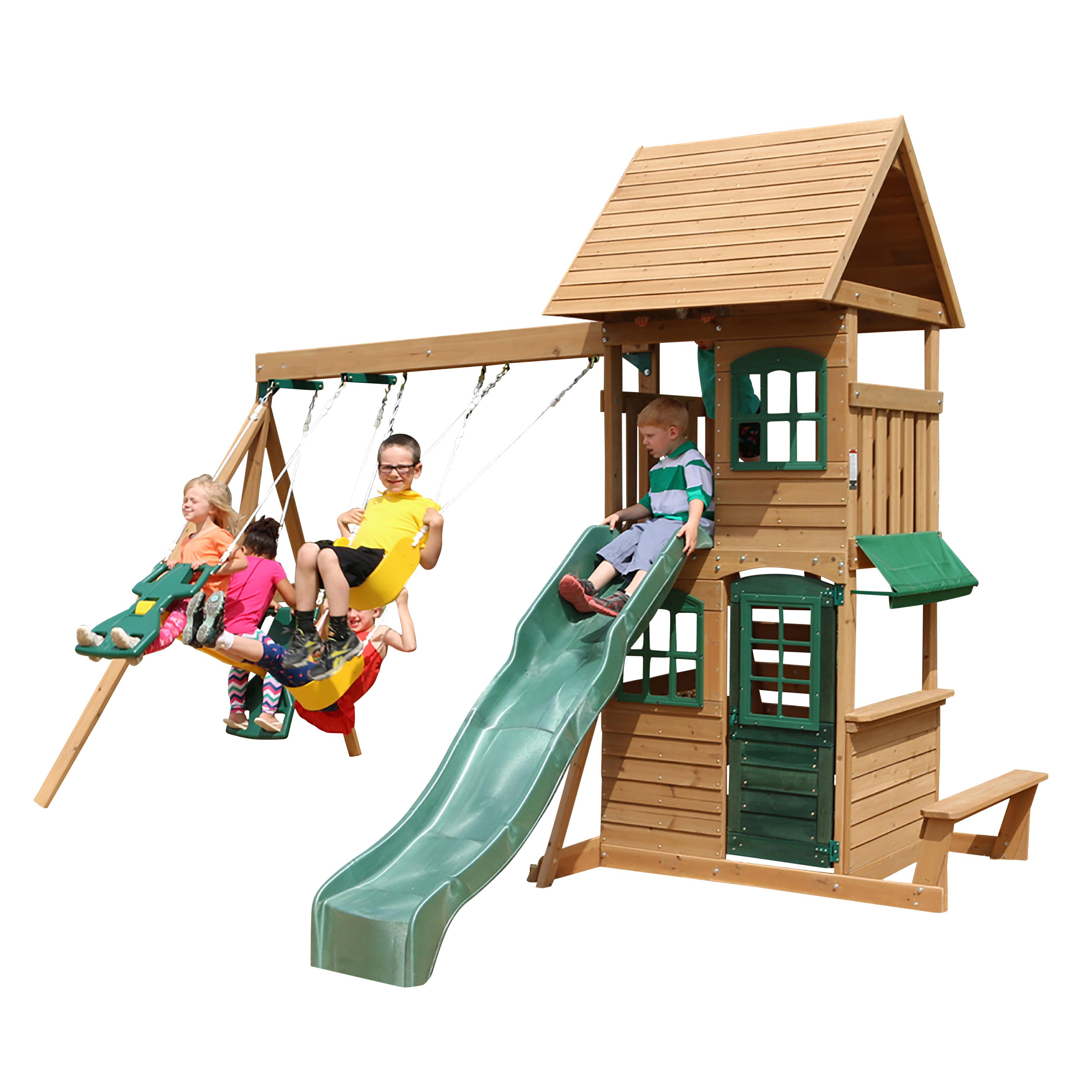 Big Backyard Windale Wooden Cedar Swing Set - Walmart.com ...