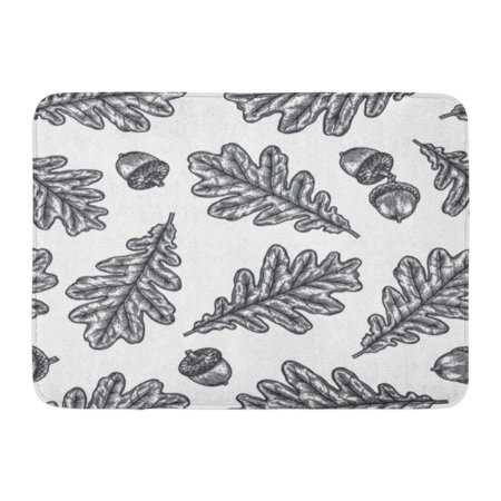 GODPOK Black Sketch Engraving Oak Leaf Acorn Vintage Botany Interior Design Curtains White Autumn Rug Doormat Bath Mat 23.6x15.7