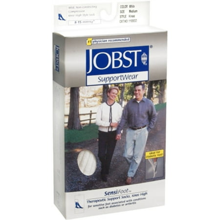 Jobst Supportwear - 4 Pack - JOBST SupportWear SensiFoot Knee High Socks 8-15 mmHg White Medium 1 Pair