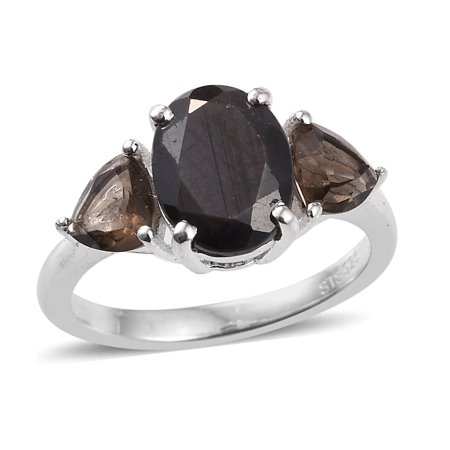 Statement Ring 925 Sterling Silver Sapphire Smoky Quartz Jewelry for Women Cttw